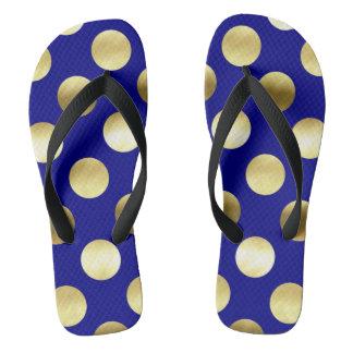 Chanclas Azules marinos con clase de los lunares de la hoja