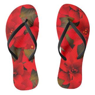 Chanclas Balanceo rojo colorido hermoso de la flor