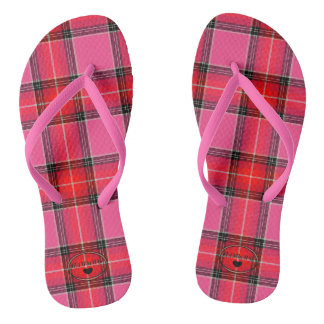 Chanclas Balanceos de HAMbyWG - rosados y tela escocesa