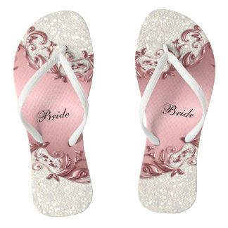 Chanclas Brillo floral y del confeti metálico rosado el |