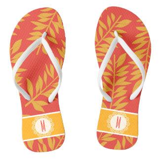 Chanclas Cabaña tropical coralina y amarilla con el