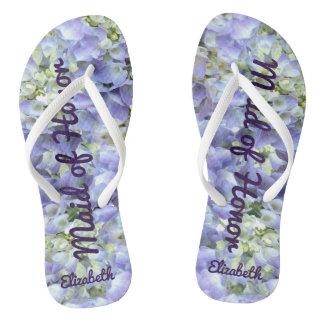Chanclas Criada del honor personalizada Hydrangea púrpura