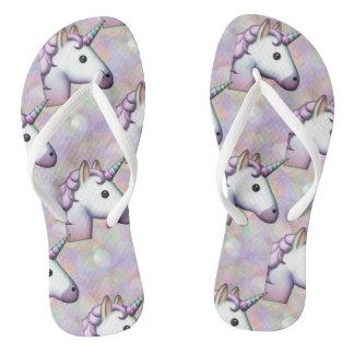 Chanclas el emoji del unicornio del holograma calza
