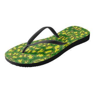Chanclas El leopardo inspiró flips-flopes amarillos verdes