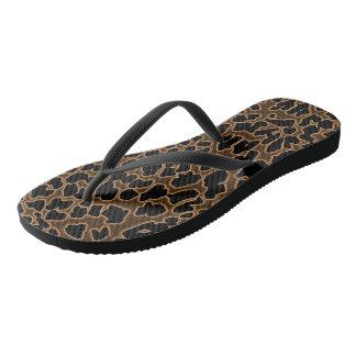 Chanclas El leopardo inspiró flips-flopes Brown-Negros