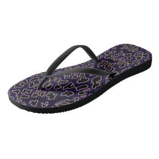 Chanclas El leopardo inspiró flips-flopes Púrpura-Negros