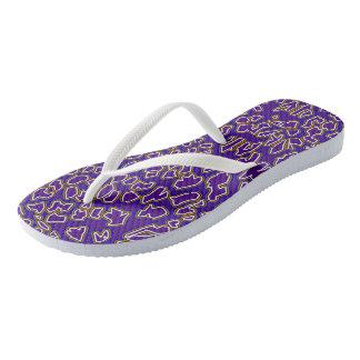 Chanclas El leopardo inspiró flips-flopes púrpuras del oro