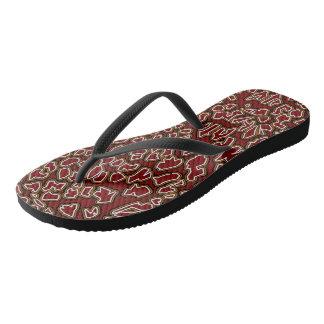 Chanclas El leopardo inspiró flips-flopes rojo marrón