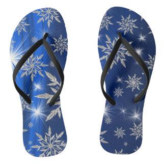 Chanclas Estrellas azules del navidad con el cristal de