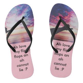 Chanclas flip-flop diseñado, rosado con las correas negras