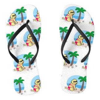 Chanclas Flips-flopes amarillos de las vacaciones de verano