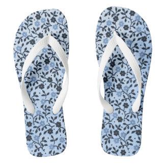 Chanclas Flips-flopes azules románticos de los rosas del