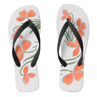 Chanclas Flips-flopes blancos florales del melocotón por