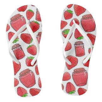 Chanclas Flips-flopes coloridos de las fresas y de los