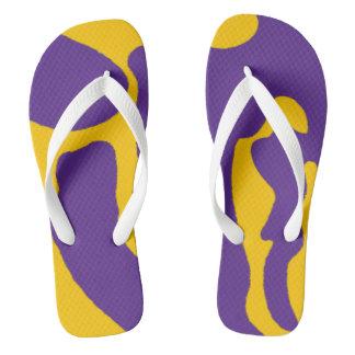 Chanclas Flips-flopes de Camo de la púrpura y del oro