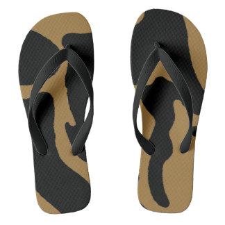 Chanclas Flips-flopes de Camo del negro y del oro