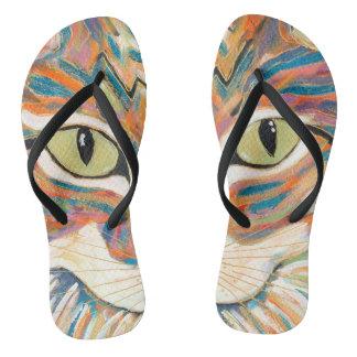 Chanclas flips-flopes de la impresión de los ojos de gato