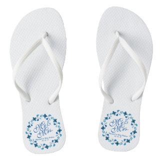 Chanclas Flips-flopes de Sr. y de señora Blue Floral