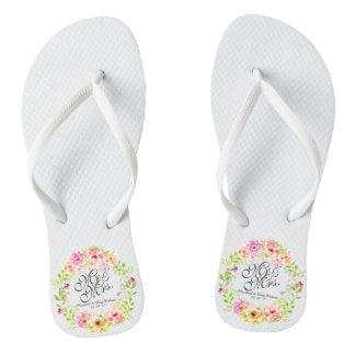 Chanclas Flips-flopes de Sr. y de señora Elegant Floral