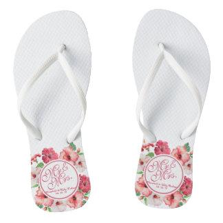 Chanclas Flips-flopes de Sr. y de señora Floral Wedding