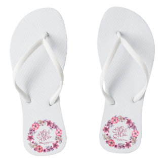 Chanclas Flips-flopes de Sr. y de señora Pink Floral