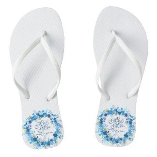 Chanclas Flips-flopes florales personalizados del boda del