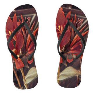 Chanclas Flips-flopes: Flores rojas del arte popular