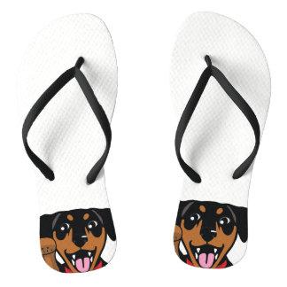 Chanclas Flips-flopes mínimos del perro del Pin del negro