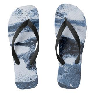 Chanclas Flips-flopes negros blancos azules abstractos del