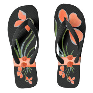 Chanclas Flips-flopes negros florales del melocotón por