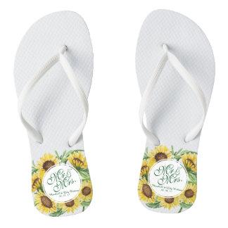 Chanclas Flips-flopes personalizados del boda del girasol