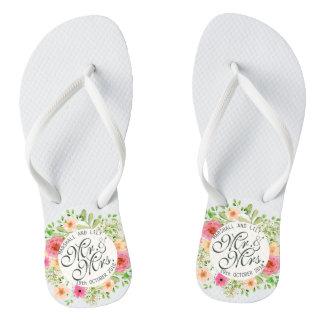 Chanclas Flips-flopes preciosos de Sr. y de señora Floral
