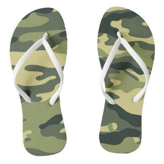 Chanclas Flips-flopes verdes de Camo, uniforme militar del