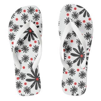 Chanclas Floral blanco y negro gráfico intrépido con el