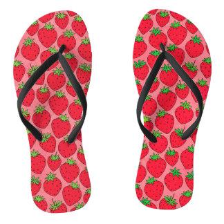 Chanclas Fresas rojas en rosa