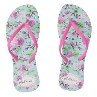 Chanclas Los flips-flopes florales - corrija su nombre