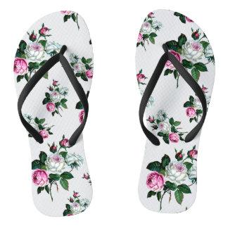 Chanclas Modelo de los rosas rosados y blancos del vintage