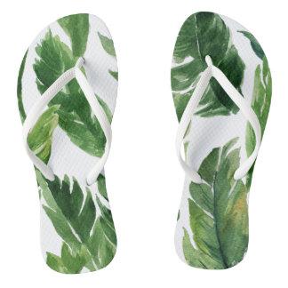 Chanclas Modelo tropical verde de las hojas de la acuarela