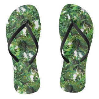 Chanclas Modelo verde de la caída del bosque del helecho de