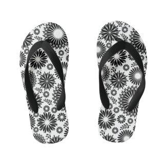 Chanclas Para Niños Boho florece el estampado de flores blanco y negro