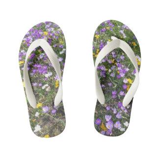 Chanclas Para Niños La primavera del azafrán del multicolor florece