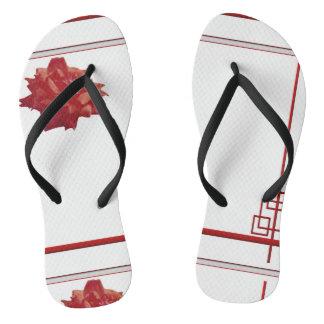 Chanclas Rojo, blanco, flor y líneas
