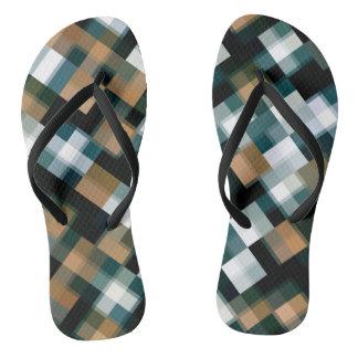Chanclas Tela escocesa blanca negra verde azulada de moda