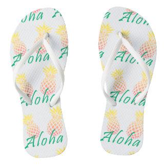 """Chanclas texto tropical de la """"hawaiana"""" del verano, piña"""