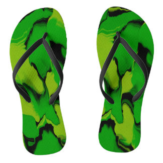 Chanclas Verde y negro ondulados