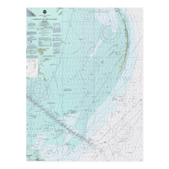 Chandeleur y carta náutica Postc de los sonidos Postal