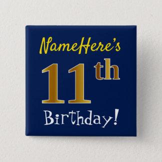Chapa Cuadrada 11mo cumpleaños del oro azul, falso, con nombre de