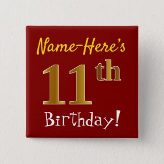 Chapa Cuadrada 11mo cumpleaños del oro rojo, falso, con nombre de