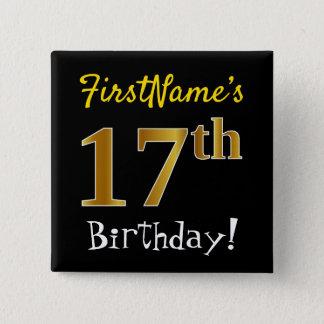 Chapa Cuadrada 17mo cumpleaños del oro negro, falso, con nombre