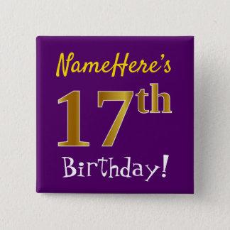 Chapa Cuadrada 17mo cumpleaños del oro púrpura, falso, con nombre